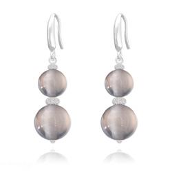 Boucles d'Oreilles Perles Rondes 8mm/10mm en Argent et Pierres Naturelles - Agate Grise