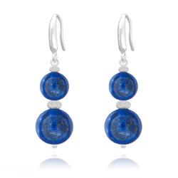 Boucles d'Oreilles Perles Rondes 8mm/10mm en Argent et Pierres Naturelles - Lapis Lazuli