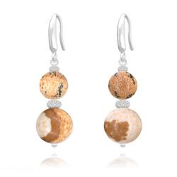 Boucles d'Oreilles Perles Rondes 8mm/10mm en Argent et Pierres Naturelles - Jaspe Paysage