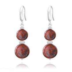 Boucles d'Oreilles Perles Rondes 8mm/10mm en Argent et Pierres Naturelles - Jaspe Rouge