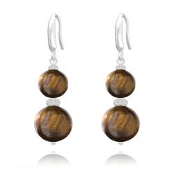 Boucles d'Oreilles Perles Rondes 8mm/10mm en Argent et Pierres Naturelles - Oeil de Tigre