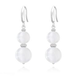 Boucles d'Oreilles Perles Rondes 8mm/10mm en Argent et Pierres Naturelles - Jade Blanc