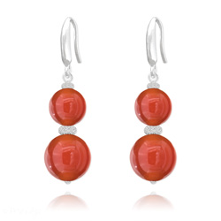 Boucles d'Oreilles Perles Rondes 8mm/10mm en Argent et Pierres Naturelles - Agate Rouge