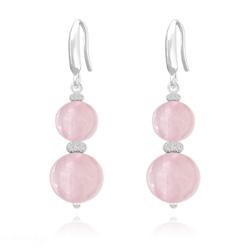 Boucles d'Oreilles Perles Rondes 8mm/10mm en Argent et Pierres Naturelles - Quartz Rose