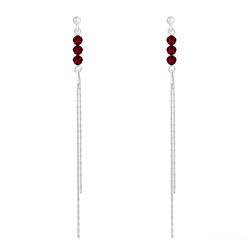 Boucles d'Oreilles Rondes à Facettes 4mm en Argent et Cristal Rouge Siam