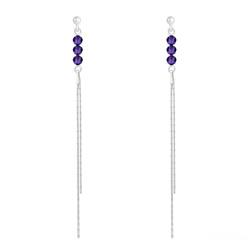 Boucles d'Oreilles Rondes à Facettes 4mm en Argent et Cristal Purple Velvet