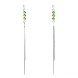 Boucles d'Oreilles Rondes à Facettes 4mm en Argent et Cristal Vert Péridot