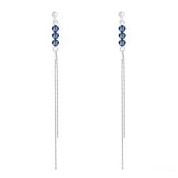 Boucles d'Oreilles Rondes à Facettes 4mm en Argent et Cristal Bleu Montana