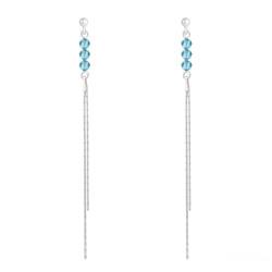 Boucles d'Oreilles Rondes à Facettes 4mm en Argent et Cristal Bleu