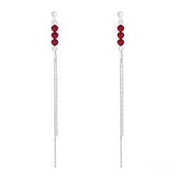 Boucles d'Oreilles Rondes à Facettes 4mm en Argent et Cristal Rouge Light Siam