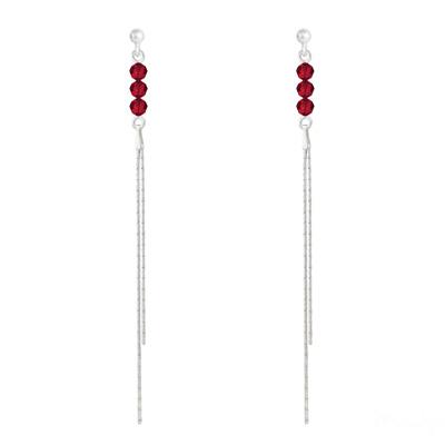 Boucles d'Oreilles en Cristal et Argent Boucles d'Oreilles Rondes à Facettes 4mm en Argent et Cristal Rouge Light Siam