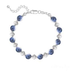Bracelet 10 Perles Rondes 6MM en Argent et Pierres Naturelles - Sodalite