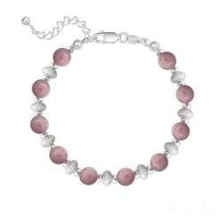 Bracelet 10 Perles Rondes 6MM en Argent et Pierres Naturelles - Rhodonite