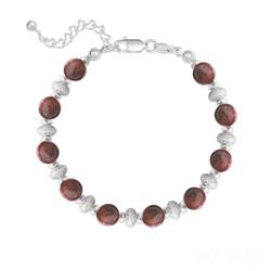Bracelet 10 Perles Rondes 6MM en Argent et Pierres Naturelles - Jaspe Rouge