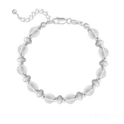 Bracelet 10 Perles Rondes 6MM en Argent et Pierres Naturelles - Cristal de Roche