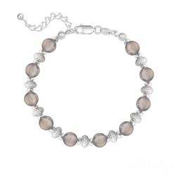 Bracelet 10 Perles Rondes 6MM en Argent et Pierres Naturelles - Agate Grise