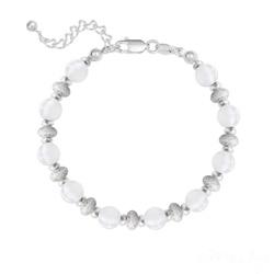 Bracelet 10 Perles Rondes 6MM en Argent et Pierres Naturelles - Jade Blanc