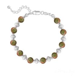 Bracelet 10 Perles Rondes 6MM en Argent et Pierres Naturelles - Unakite