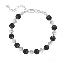 Bracelet 10 Perles Rondes 6MM en Argent et Pierres Naturelles - Onyx