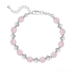 Bracelet 10 Perles Rondes 6MM en Argent et Pierres Naturelles - Quartz Rose