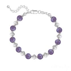 Bracelet 10 Perles Rondes 6MM en Argent et Pierres Naturelles - Améthyste