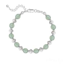Bracelet 10 Perles Rondes 6MM en Argent et Pierres Naturelles - Aventurine