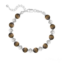 Bracelet 10 Perles Rondes 6MM en Argent et Pierres Naturelles - Oeil de Tigre
