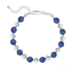 Bracelet 10 Perles Rondes 6MM en Argent et Pierres Naturelles - Lapis Lazuli