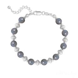 Bracelet 10 Perles Rondes 6MM en Argent et Pierres Naturelles - Labradorite