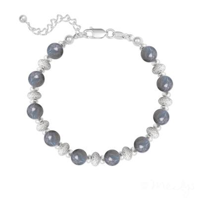 Bracelet en Pierre Naturelle Bracelet 10 Perles Rondes 6MM en Argent et Pierres Naturelles - Labradorite