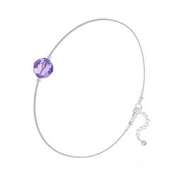 Bracelet en Cristal et Argent Bracelet Cristal 6mm à Facettes sur Chaîne Serpent en Argent - Tanzanite