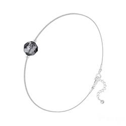 Bracelet en Cristal et Argent Bracelet Cristal 6mm à Facettes sur Chaîne Serpent en Argent - Silver Night