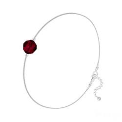 Bracelet en Cristal et Argent Bracelet Cristal 6mm à Facettes sur Chaîne Serpent en Argent - Rouge Siam