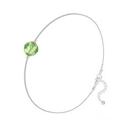 Bracelet Cristal 6mm à Facettes sur Chaîne Serpent en Argent - Vert Péridot