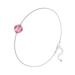 Bracelet Cristal 6mm à Facettes sur Chaîne Serpent en Argent - Light Rose