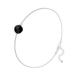 Bracelet Cristal 6mm à Facettes sur Chaîne Serpent en Argent - Jet (Noir)