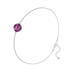 Bracelet Cristal 6mm à Facettes sur Chaîne Serpent en Argent - Fuchsia