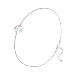 Bracelet Cristal 6mm à Facettes sur Chaîne Serpent en Argent - Aurore Boréale