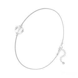 Bracelet Cristal 6mm à Facettes sur Chaîne Serpent en Argent - Blanc