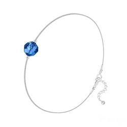 Bracelet Cristal 6mm à Facettes sur Chaîne Serpent en Argent - Capri Blue