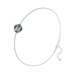 Bracelet Cristal 6mm à Facettes sur Chaîne Serpent en Argent - Black Diamond