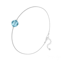 Bracelet Cristal 6mm à Facettes sur Chaîne Serpent en Argent - Bleu