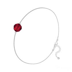 Bracelet Cristal 6mm à Facettes sur Chaîne Serpent en Argent - Rouge Light Siam