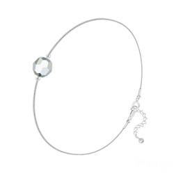 Bracelet Cristal 6mm à Facettes sur Chaîne Serpent en Argent - Argenté