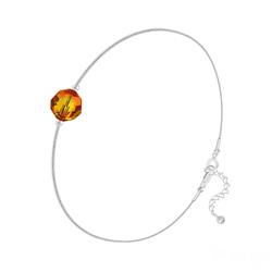 Bracelet Cristal 6mm à Facettes sur Chaîne Serpent en Argent - Fire Opal