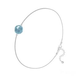 Bracelet Cristal 6mm à Facettes sur Chaîne Serpent en Argent - Turquoise