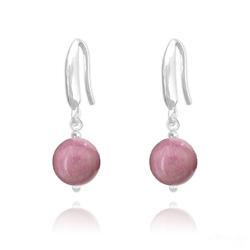 Boucles d'Oreilles Perles 8mm en Argent et Pierres Naturelles - Rhodonite