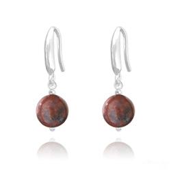 Boucles d'Oreilles Perles 8mm en Argent et Pierres Naturelles - Jaspe Rouge
