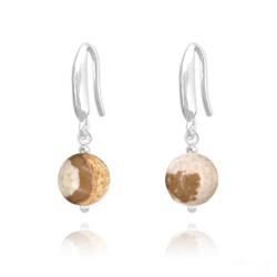 Boucles d'Oreilles Perles 8mm en Argent et Pierres Naturelles - Jaspe Paysage