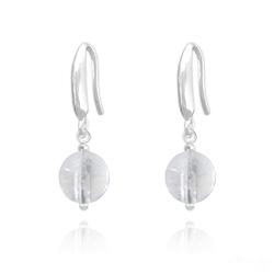 Boucles d'Oreilles Perles 8mm en Argent et Pierres Naturelles - Cristal de Roche